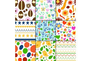 Easter seamless pattern background design vector holiday celebration party wallpaper greeting colorful egg fabric textile illustration.
