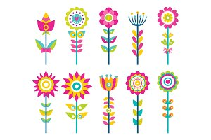 Wild Field Flowers in Colorful Ornamental Design