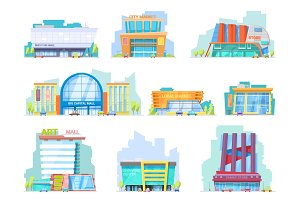 Building mall vector storefront of newbuild mall and store facade illustration set of shopping officebuilding of cityscape and architectural city shop isolated on white background