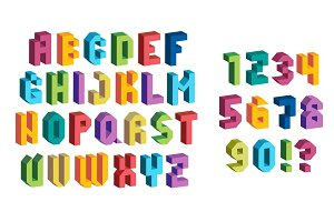 Colorful 3d Font. Isometric letters