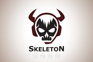 Horns Skull Gamer Logo Template