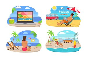 Freelance Summer Collection Vector Illustration