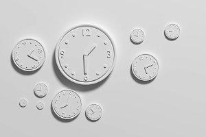 White clocks