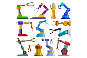 Robot arm vector robotic machine hand technology equipment illustration set of robotechnic engineer character in industry isolated on white background