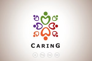Love and Caring Logo Template