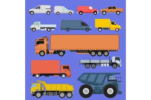Trucks icons set vector shipping cars vehicles cargo transportation by road. Delivery vehicle car shipping trucks and rail car with forklifts. Flat style icons trailer lorry traffic illustration