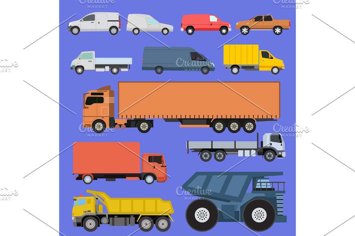 Trucks icons set vector shipping cars vehicles cargo transportation by  road  Delivery vehicle car shipping trucks and rail car with forklifts   Flat