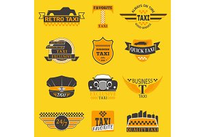 Taxi logos vector label badge templates design elements text and image.Taxi car service business company sign template corporate icon identity design object