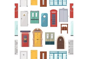 Doors vector set house doorway front entrance to house and building in flat style doorstep decoration elements illustration seamless pattern background