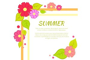 Summer Text and Floral Frame Vector Illustration