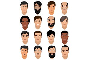 Man portrait vector male character face of boy with hairstyle and cartoon manlike person with various skin tone and beard illustration set of masculine facial features isolated on white background