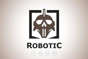 Robotic Skull Helmet Logo Tempalte