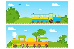 Kids train vector cartoon toy with colorful locomotive blocks railroad carriage game fun leisure joy gift children transport illustration.