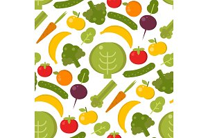 Vector vegetables healthy food seamless pattern illustration. Organic green broccoli, tomato, carrot food vegetables delicious cooking fresh sign background. Flat drawing eat kitchen design