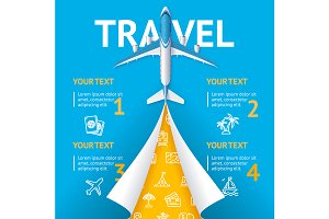 Airplane Travel Concept Flyer Banner