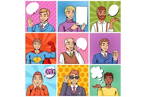 Comic man vector popart cartoon businessman character speaking bubble speech or comicguy expression illustration male set of men in pop art fashion style isolated on background