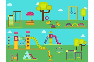Children playground kindergarten amusement childhood play park activity place recreation swing equipment toy vector illustration