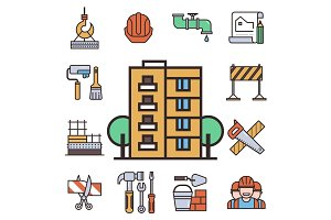 Construction vector linear icons universal building elements and worker equipment flat industry tools illustration.