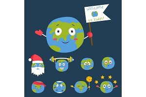 Cartoon globe emotion planet icons smile happy nature character expression vector illustration avatar