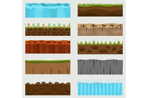 Illustration of cross section vector ground slice isolated on white background. Some ground-slices piece nature cross outdoor. Ecology underground groundslice