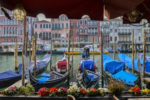 View on classical picture of the Canal Grande with moored gondolas in Venice, Italy