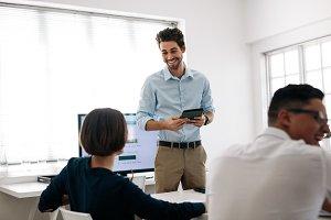 Entrepreneur making a presentation