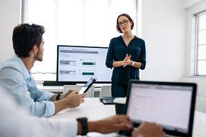 Woman making a presentation at work