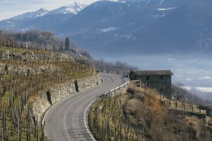 Swerving roads in Valtellina, a valley near Sondrio in the Lombardy region of northern Italy, bordering Switzerland