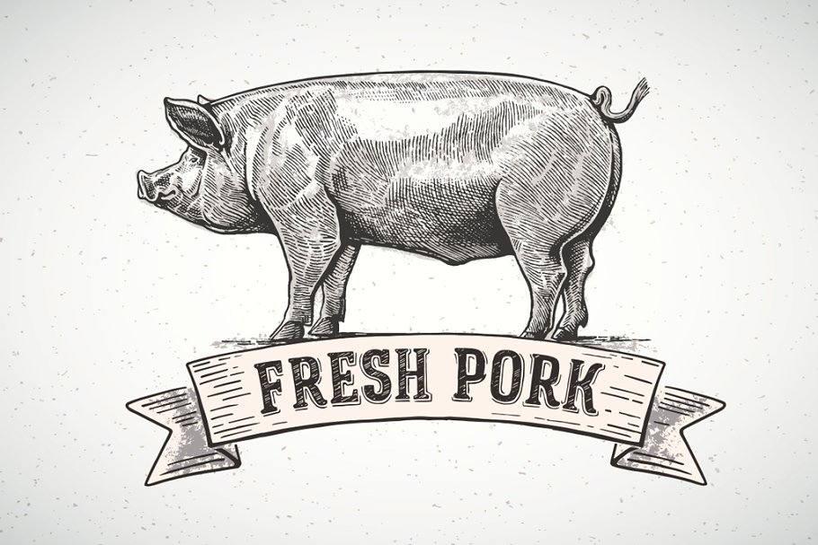 Pigs in graphical style in Illustrations - product preview 7