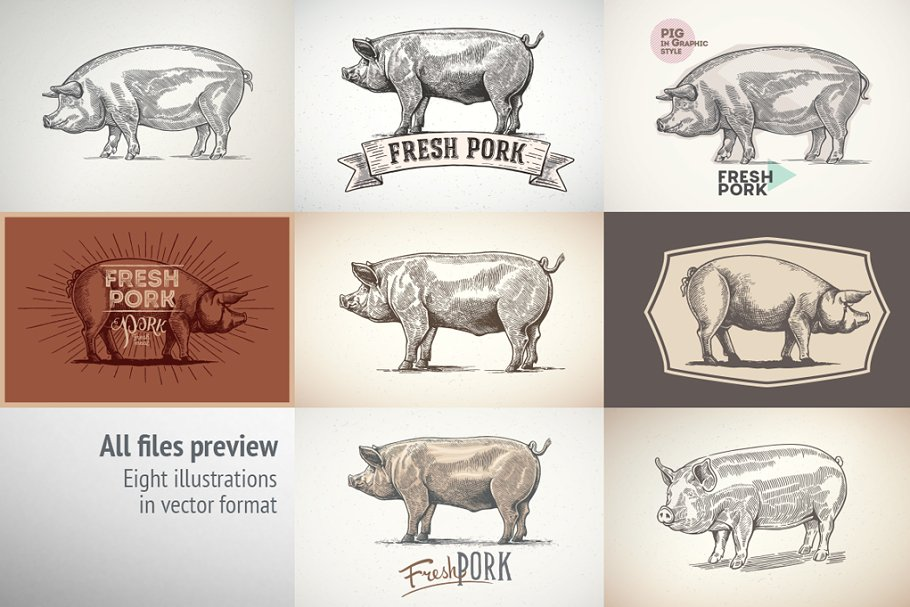 Pigs in graphical style in Illustrations - product preview 9