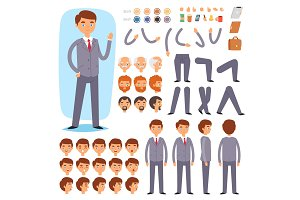 Businessman constructor vector creation of male character with manlike head and face emotions illustration set of mans body with hands legs isolated on white background