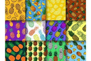 Pineapple seamless pattern vector ananas or tropical fresh fruit textured backdrop and sweet exotic dessert in tropics background set fruity illustration of summer wallpaper
