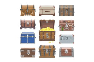Chest vector treasure box with gold money wealth or wooden pirate chests with golden coins illustration set of closed wooden container isolated on white background