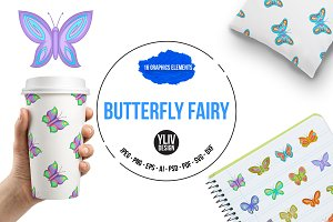 Butterfly fairy icons set, cartoon