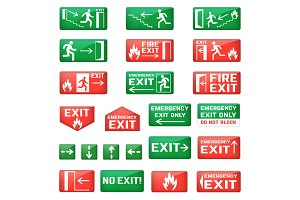 Exit vector emergency exit sign and fire escape point with green arrows for safety evacuation and exited in dander illustration set isolated on white background
