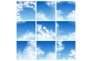 Sky pattern vector cloudy backdrop and blue clouded skyline heaven wallpaper illustration set of cloudscape with fluffy background