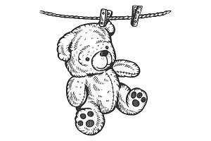 Teddy bear on rope engraving vector illustration