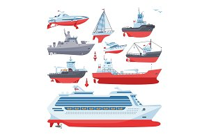 Ships vector boats or cruise travelling in ocean or sea and shipping transportation illustration marine set of nautical sailboat yachting or speedboat isolated on white background