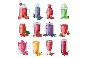 Smoothie vector healthy berry drink in glass or fresh beverage mix of strawberry blueberry and raspberry illustration set of berrylike juice of gooseberry or cranberry isolated on white background