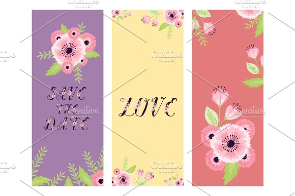 vector save the date love flower valentine day wedding floral card