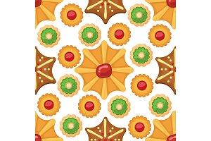 Different cookie cakes seamless pattern background sweet food tasty snack biscuit sweet dessert vector illustration.