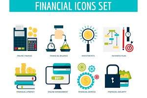 Banking money financial services set credit sign development online accumulation bank investment management finance vector illustration.