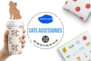 Cats accessories icons set, cartoon
