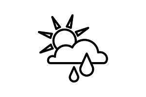 Web icon. Sunny rain. Sun, cloud