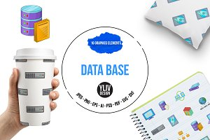 Data base icons set, cartoon style
