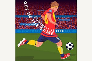 Running football player in stadium