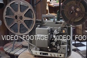 Old film projector with film