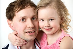 Happy daughter with daddy
