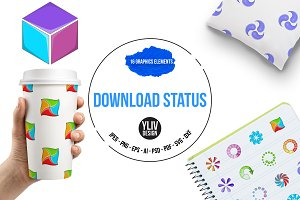 Download status icons set, cartoon