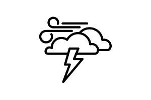 icon. Haze (storm). Lightning, cloud